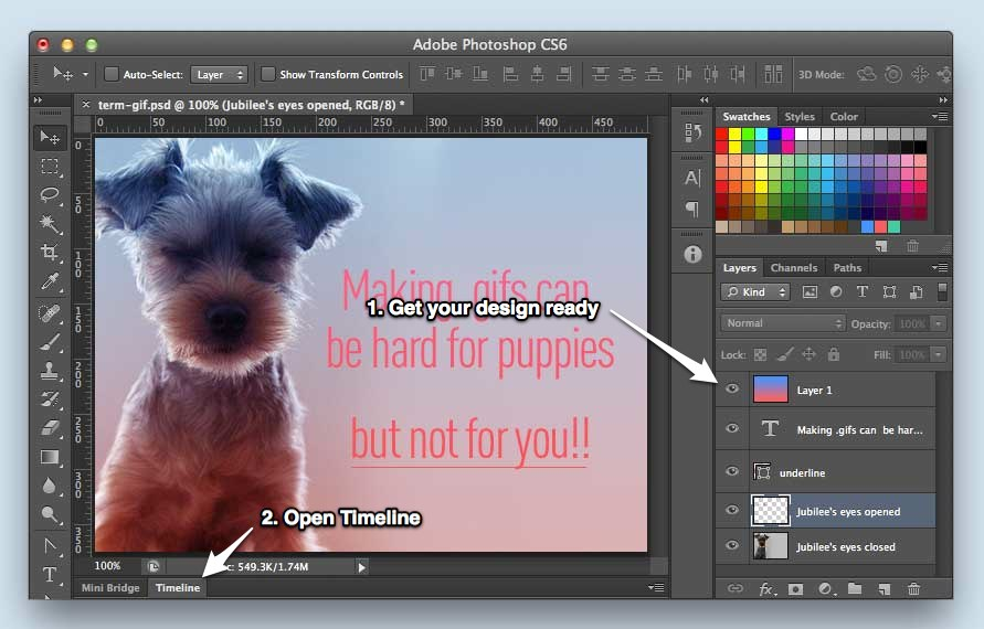 Gifs skillcrush create your animation frames as different layers in your photoshop document negle Images