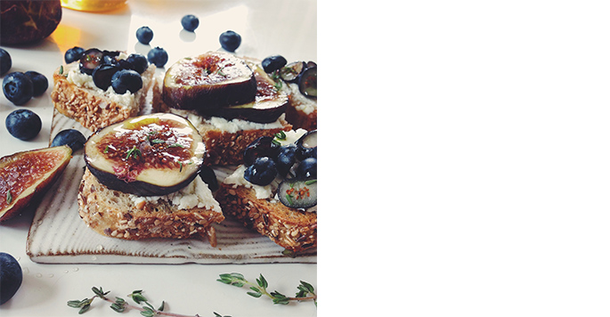Lily Diamond, Goat Cheese Tartines Two Ways: Blueberry Rosemary and Fig & Thyme