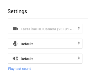 google hangout sound settings video interview