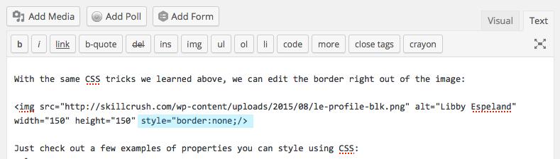Inline CSS: Remove Border