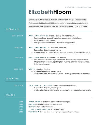 free resume template - Free Contemporary Resume Templates