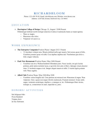 Simple Resume Template cool basic resume template Free Resume Template