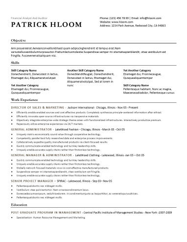 Great Free Resume Template On Corporate Resume Template