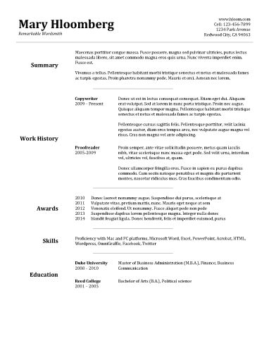 free resume template - Template Of A Resume