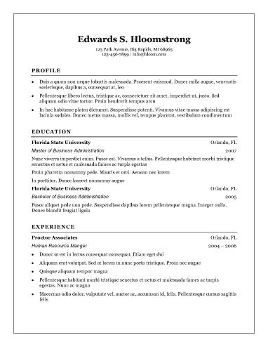 free resume template - Business Resume Template Word