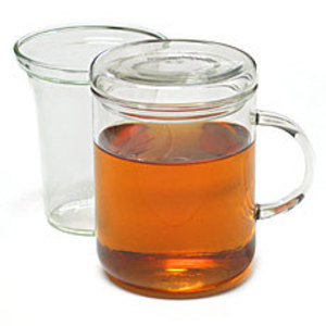 Trendglas Zyclo tea cup with lid and glass strainer from Teaware