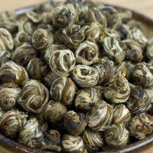 Jasmine Pearls (mo li hua zhen zhu) from the Min River Tea Farm