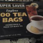 Orange Pekoe & Pekoe Cut Black Tea Super Saver Tagless 100 Tea Bags from Super Saver