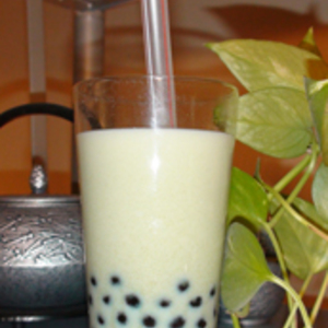 Sencha Green Tea ...with milk, honey, and tapioca pearls from Rishi Tea