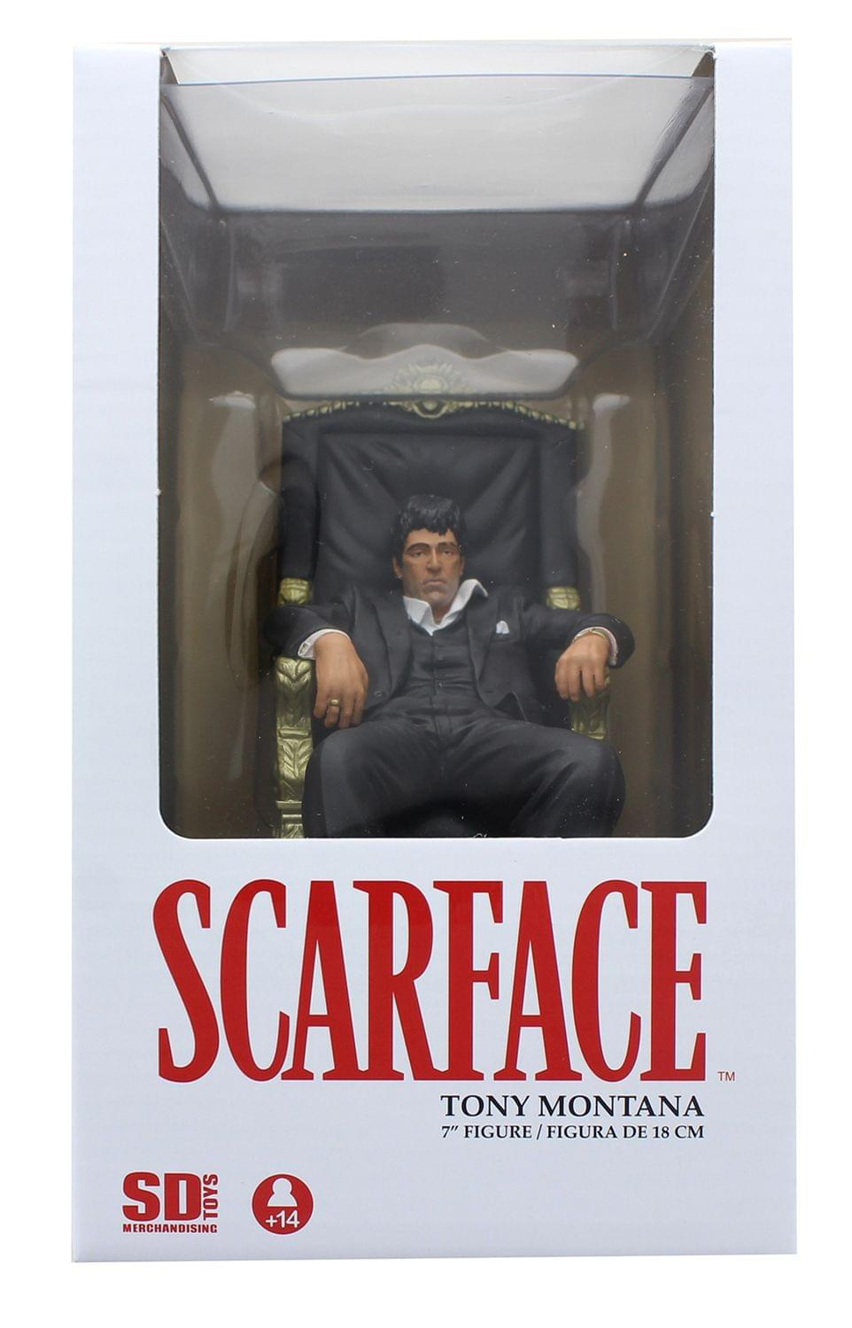 environ 17.78 cm Collectible Figure Scarface Tony Montana dans chaise 7 in