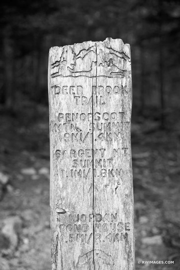 OLD DEER BROOK TRAIL SIGN JORDAN POND AREA ACADIA NATIONAL PARK MAINE BLACK AND WHITE