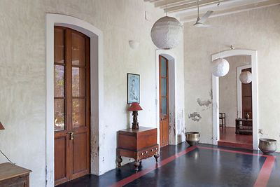 A corridor in The Villa Helena, an upscale Heritage Hotel, Pondicherry, India