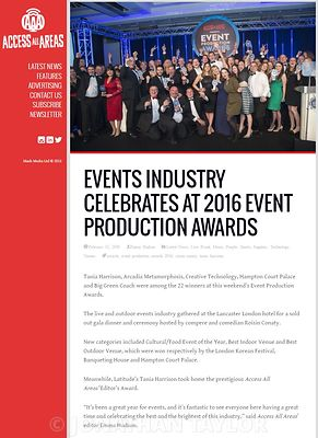 Access All Areas website - February 2016 - Event Production Awards