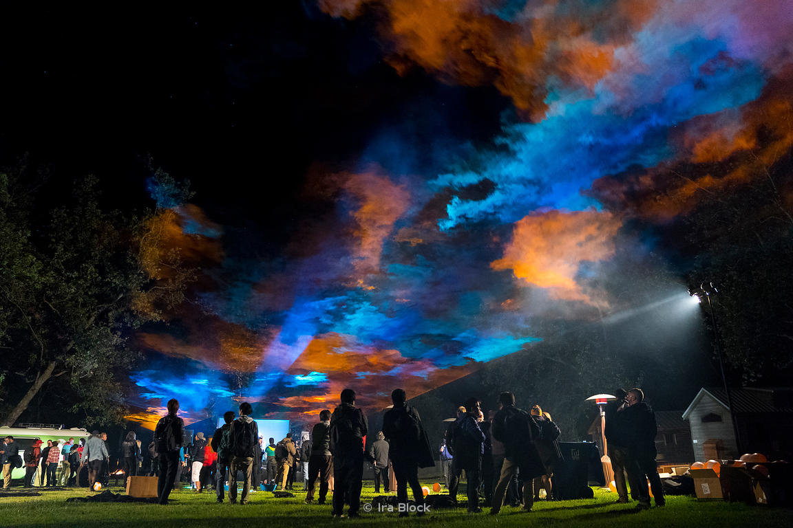 A music concert and laser show in El Capitan Canyon in California.