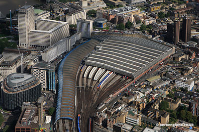 aerial photograph of Waterloo Station  London UK