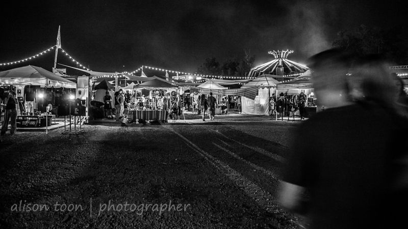 Vendor village at night, TBD Fest, 2014