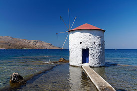 Windmill in sea, Aghia Marina, Leros, Dodecanese, Islands, Greece.Islands, Greece.