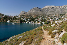 The dramatic mountainous landscape of Kalimnos or Kalymnos, Linaria Bay, Panormas, Dodecanese Islands, Greece.