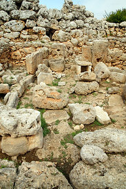 Remains of post Talayotic houses 550-123BC , Trepuco Talyotic site, Mahon or Mao, Menorca, Balearic Islands, Spain.