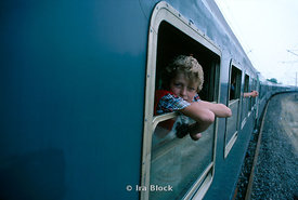 Boy on a train, Yugoslavia.