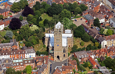 aerial photograph of St Mary's Church Warwick Warwickshire, England UK