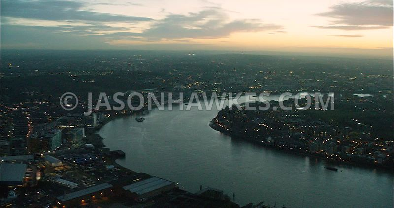 London Aerial Footage of Docklands at Leamouth Peninsula at night.