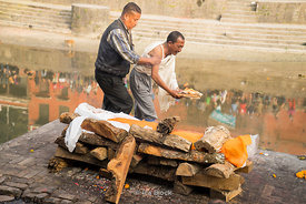 Bodies being cremated in Pashupatinth Temple on the banks of the Bagmati River. It is a Shiva Hindu site.