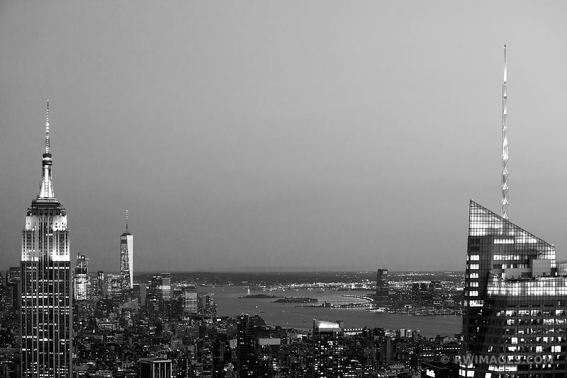EMPIRE STATE BUILDING FREEDOM TOWER MAHATTAN SKYLINE NEW YORK CITY BLACK AND WHITE