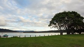 Medium Shot: Coromandel, Whitianga Harbor Sunset (Day to Night)