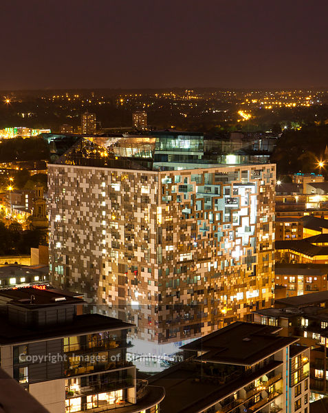 The Cube building, Birmingham at night, England, UK