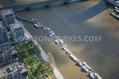 Aerial view of London Battersea Railway Bridge and River Thames