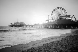 Santa Monica Pier Black and White Picture