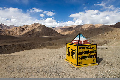 Road marker at 11,500 ft. near Nimmu, Ladakh, India