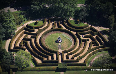 aerial photograph of the Yew hedge maze at Somerleyton Hall near   Lowestoft   Suffolk England UK.