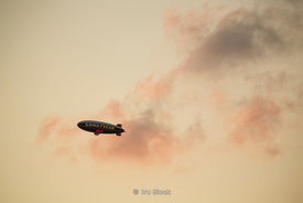The Goodyear Blimp flies over the Hudson River on Independence Day.