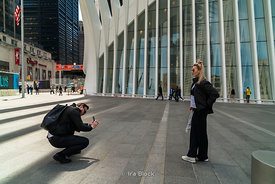 Tourists take pictures outside The Oculus near World Trade Center in Lower Manhattan, New york City.