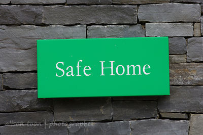 "Half of a pair of signs, ""Safe Home"", Ireland"