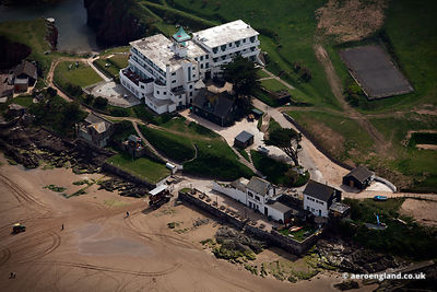 aerial photograph of  Burgh Island Hotel & the Pilchard Inn on Burgh Island  Devon England UK