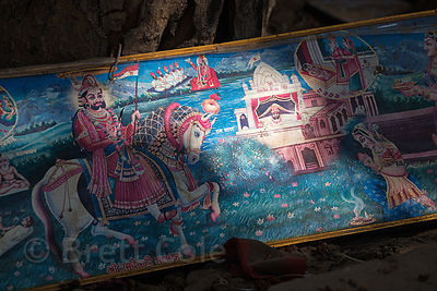 Discarded artwork with Rajasthani themes, Pushkar, Rajasthan, India