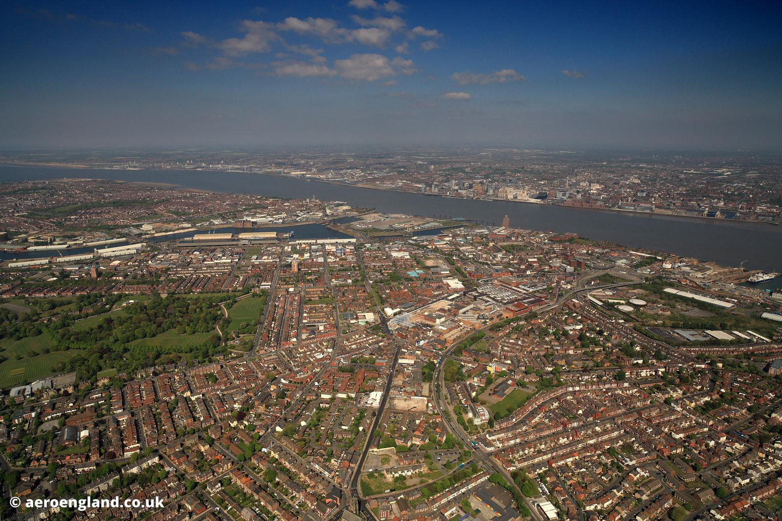 aerial photograph of Birkenhead Merseyside UK