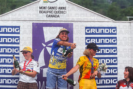 JULIANA FURTADO AWARD CEREMONY WOMENS RACE MONT STE ANNE, CANADA. GRUNDIG WORLD CUP 1995