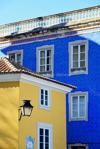 Detail of houses in the historic village of Sintra. Portugal