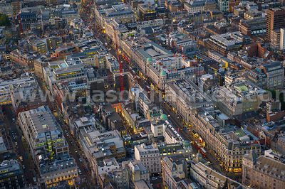Aerial view of Regent Street at dusk, London