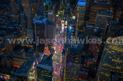 Night aerial view of the bright lights of Times Square