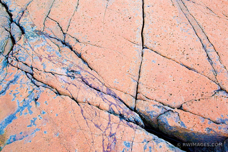 PINK GRANITE CRACKED ROCK SCHOODIC PENINSULA ACADIA NATIONAL PARK MAINE