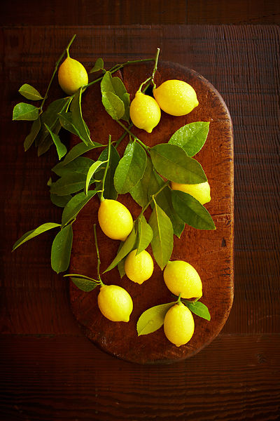 Meyer Lemons on Rustic Cutting Board