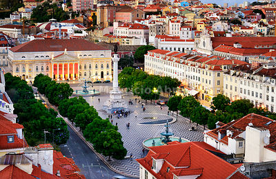 Rossio square or Praça Dom Pedro IV, the heart of the historic centre at twilight. Lisbon, Portugal