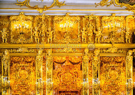 A section of the Amber Room; Tsar's Village, Russian Federation
