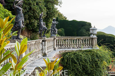 C18th lead statues on the Aviary Terrace at Powis Castle Garden
