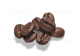 Roasted coffee beans isolated. on white background.